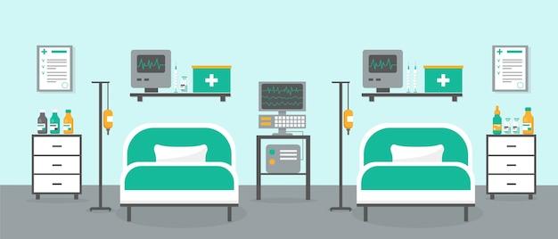 Sala de terapia intensiva con dos camas y equipo médico. interior de la habitación del hospital o clínica. Vector Premium