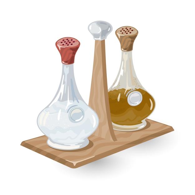 El salero de vidrio o la coctelera y el molinillo de pimienta con tapas rojas y marrones están sobre una rejilla de madera. Vector Premium