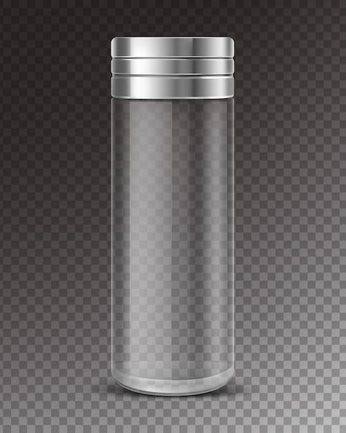 Salero de vidrio vacío con tapa de metal vector gratuito