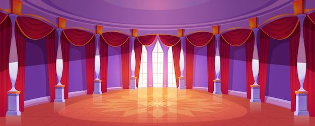 Salón de baile interior en el castillo real medieval vector gratuito