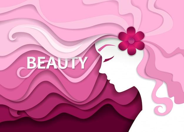 Salón de belleza en papel estilo art Vector Premium