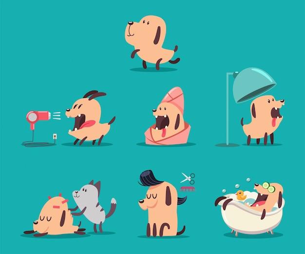 Salón de belleza para perros. cachorros divertidos de personajes en el spa. Vector Premium