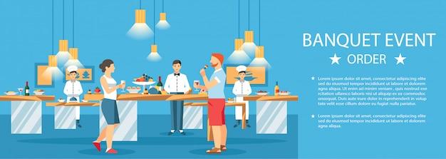 Salón de eventos para banquetes, centro de plantilla de color de banner Vector Premium