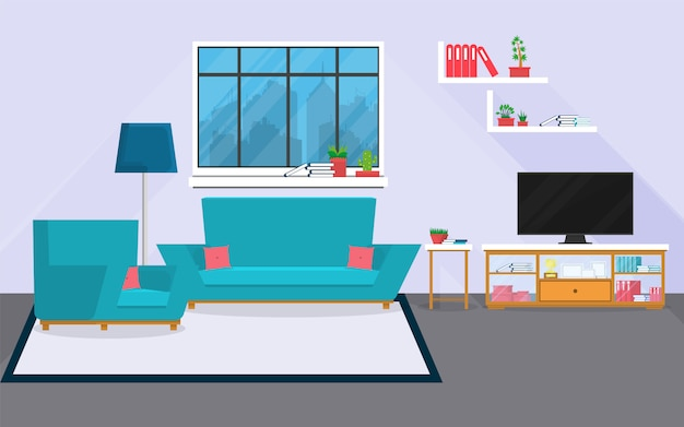 Salón interior con muebles y ventana. Vector Premium
