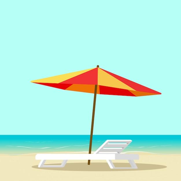 Salón de playa con silla vacía cerca de mar y sombrilla ilustración vectorial de dibujos animados plana Vector Premium
