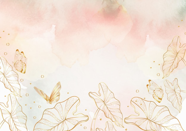 Salpicaduras de acuarela con fondo de arte de línea floral Vector Premium