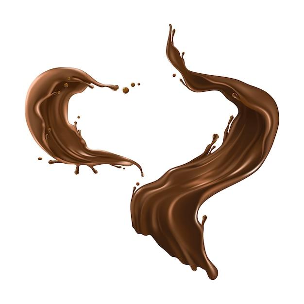 Salpicaduras de chocolate caliente realistas vector gratuito