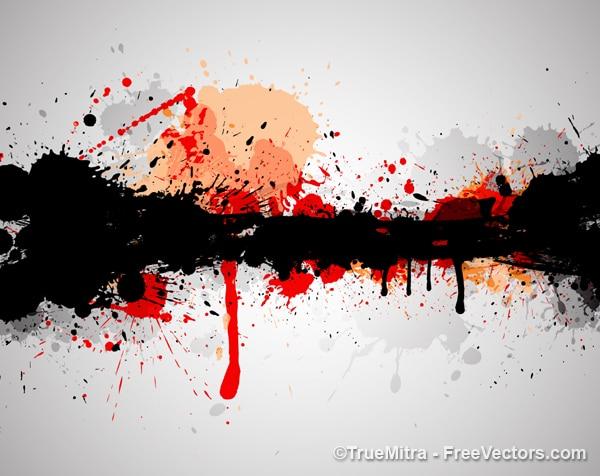 Salpicaduras de pintura de fondo negro rojo descargar vectores gratis - Salpicaduras de pintura ...