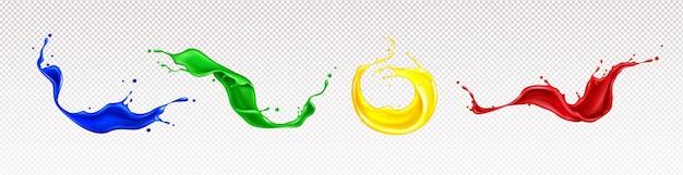Salpicaduras de pintura con remolinos y gotas aisladas vector gratuito