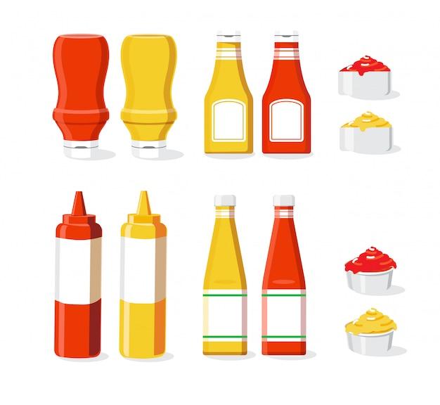 Salsa conjunto ilustración fondo blanco aislado Vector Premium