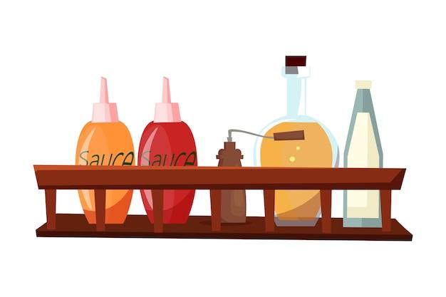 Salsas y especias, diferentes ingredientes de cocina en estante de madera. Vector Premium