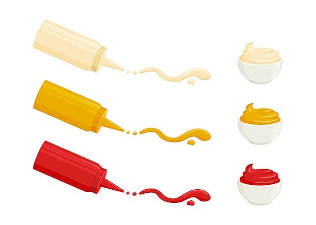 Salsas mayonesa, mostaza, salsa de tomate. salsas en botellas y cuencos. ilustración de comida Vector Premium