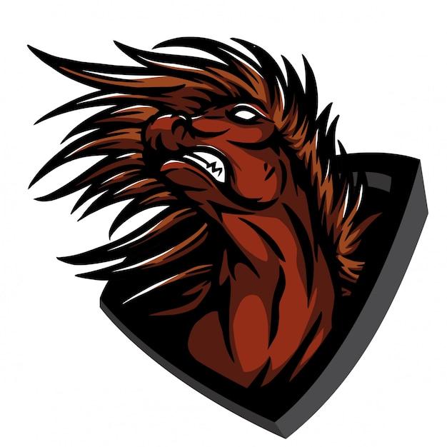 Saltando caballo enojado Vector Premium