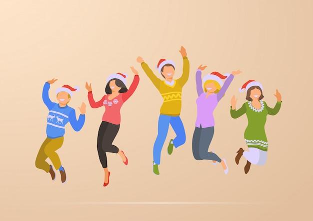 Salto bailando feliz gente navidad fiesta vacaciones plano vector ilustración. vector gratuito