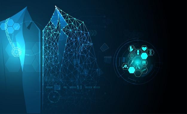 Salud ciencia médica cuidado de la salud tecnología digital médico Vector Premium