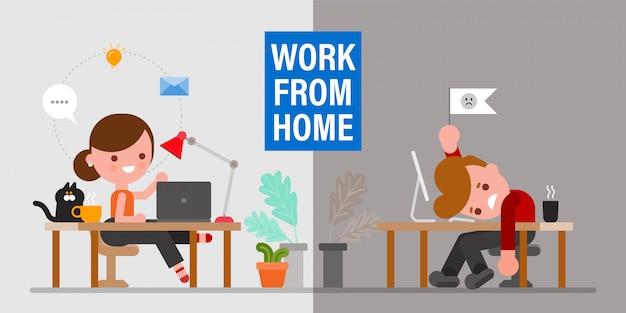 Salud mental cuando se trabaja desde casa. hombre y mujer sentados en su espacio de trabajo expresando diferentes emociones. personaje de dibujos animados de estilo de diseño plano. Vector Premium