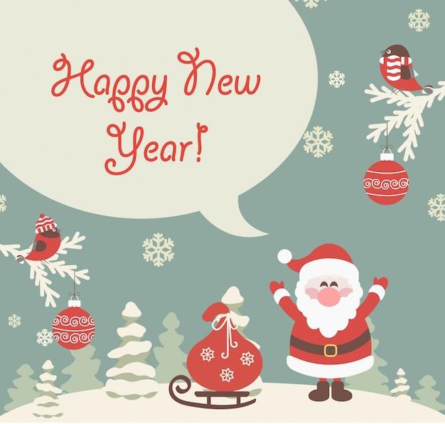 Saludo de año nuevo. Vector Premium