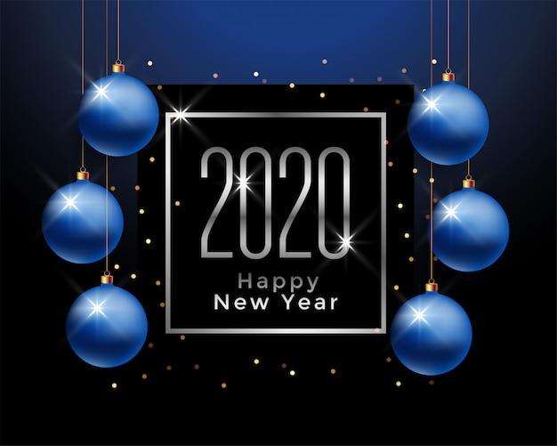 Saludo de feliz año nuevo 2020 con bolas de navidad azules vector gratuito