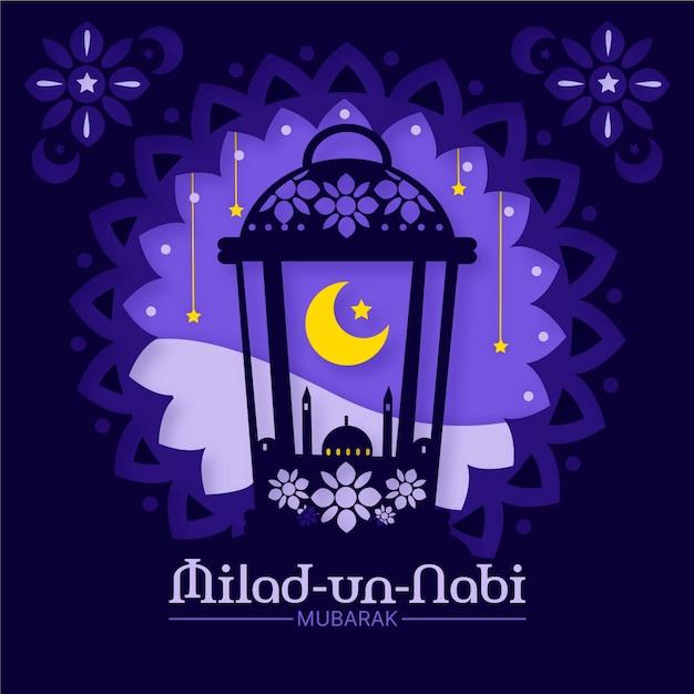 Saludo de mawlid milad-un-nabi con mezquita y luna vector gratuito