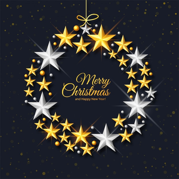 Saludo premium del festival de navidad en fondo decorativo de estrellas vector gratuito