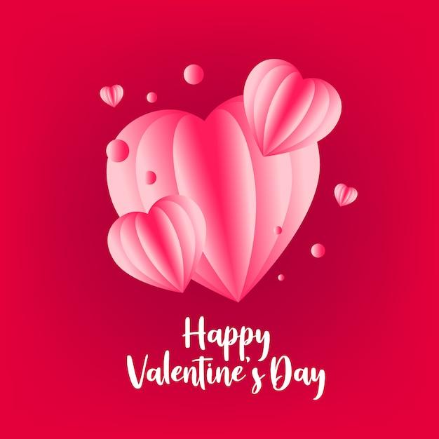 Saludo de san valentín con corazón de amor Vector Premium