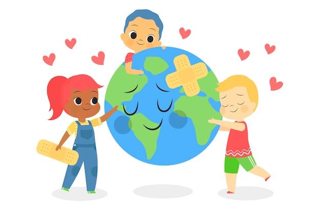 Salva el concepto del planeta con niños cuidando la tierra vector gratuito