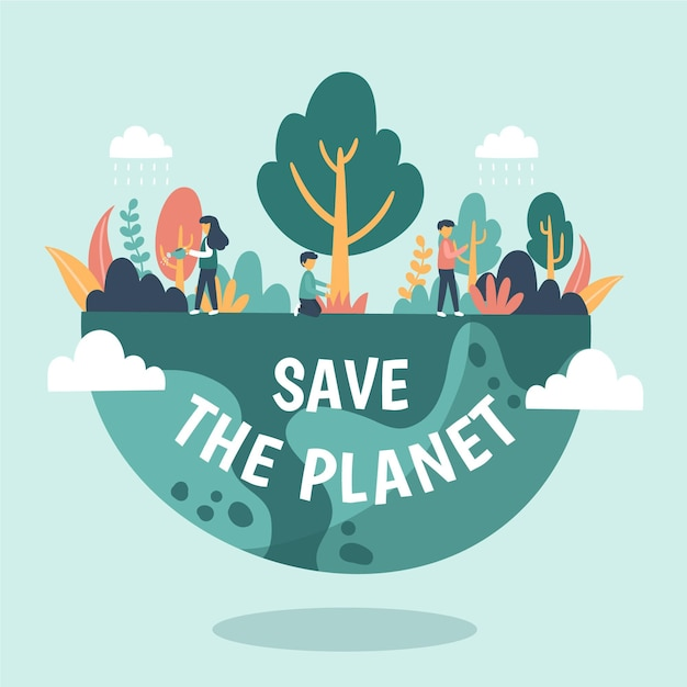 Salva el concepto del planeta con personas en la naturaleza vector gratuito