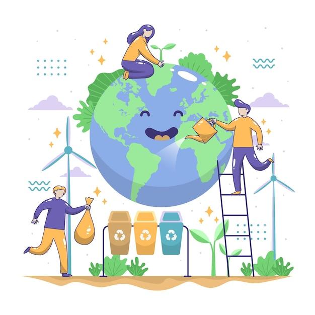 Salva el tema ilustrado del planeta vector gratuito