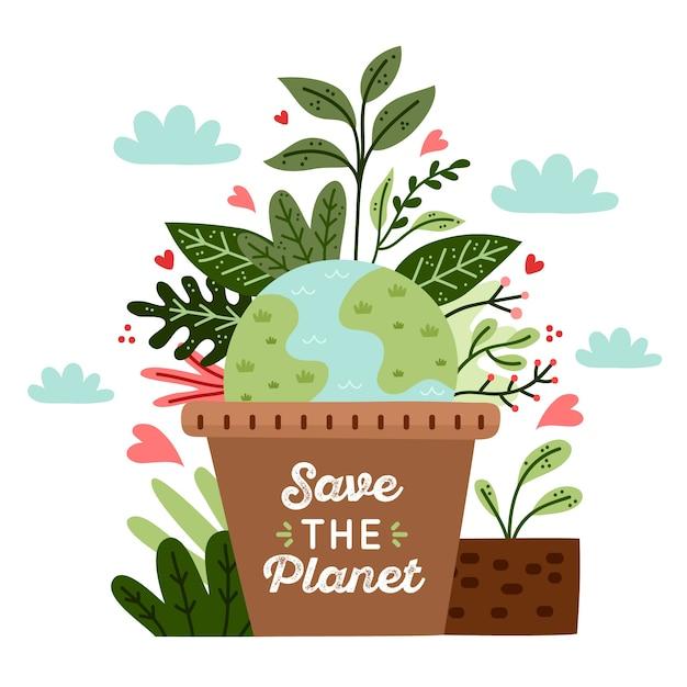 Salvar el concepto del planeta vector gratuito