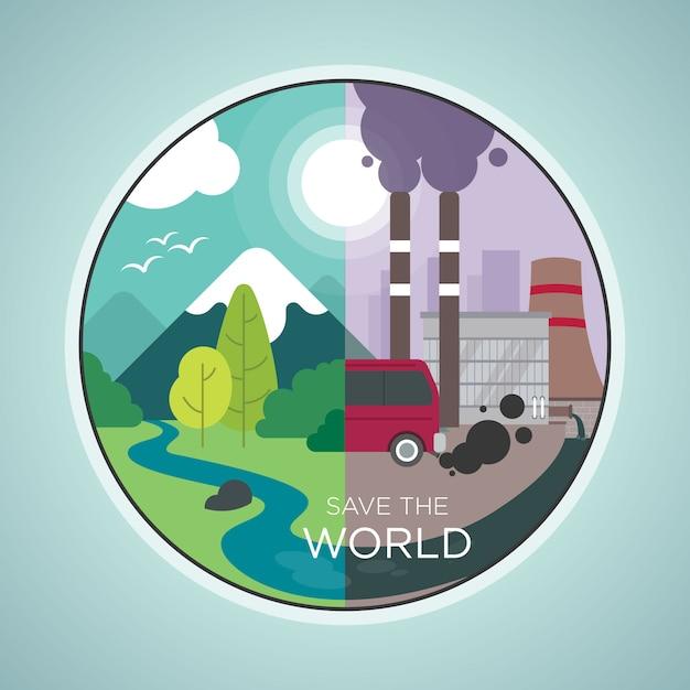 Salvar el mundo Vector Premium