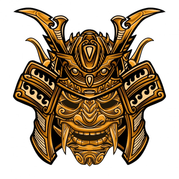 Samurai gold warrior mask vector Vector Premium