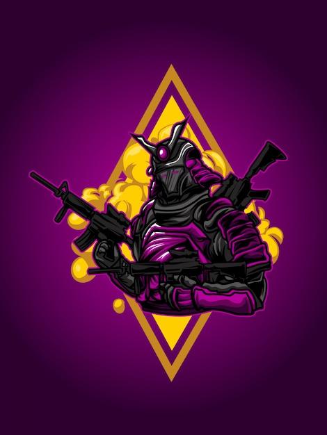 Samurai ronin ilustración Vector Premium