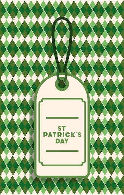 San patricio etiqueta día colgando con fondo verde Vector Premium