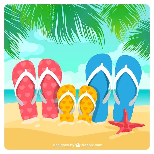 Sandalias de familia en la arena vector gratuito