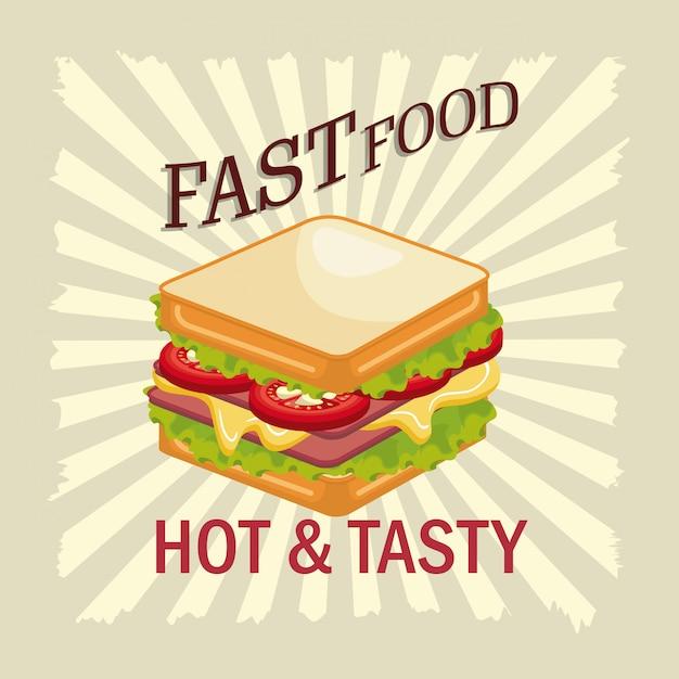 Sándwich de comida rápida diseño aislado Vector Premium