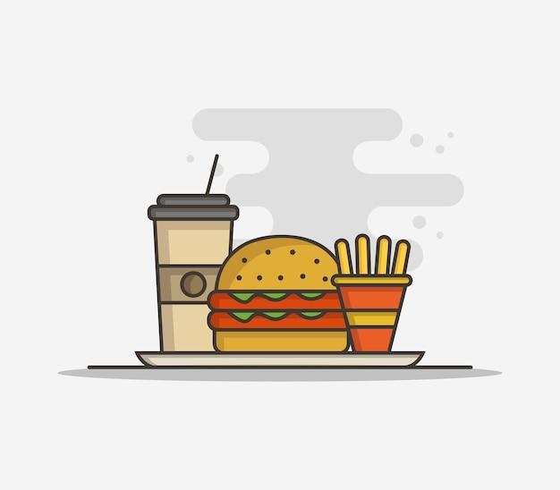Sandwich y patatas fritas vector gratuito