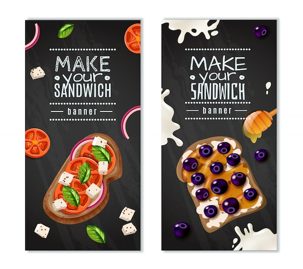 Sandwiches banners verticales vector gratuito