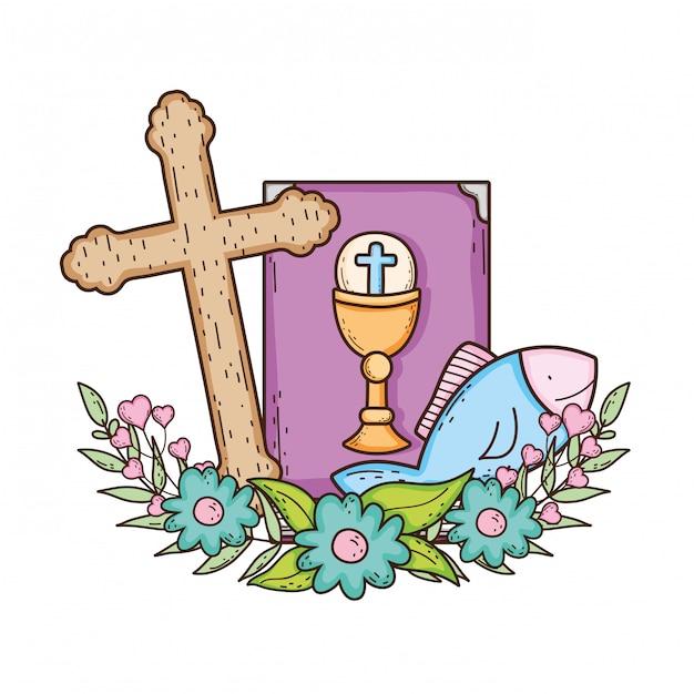 Santa biblia libro con cruz Vector Premium