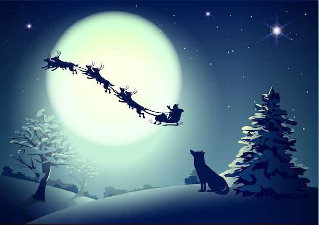 Santa en el cielo nocturno con el telón de fondo de luna llena. Vector Premium