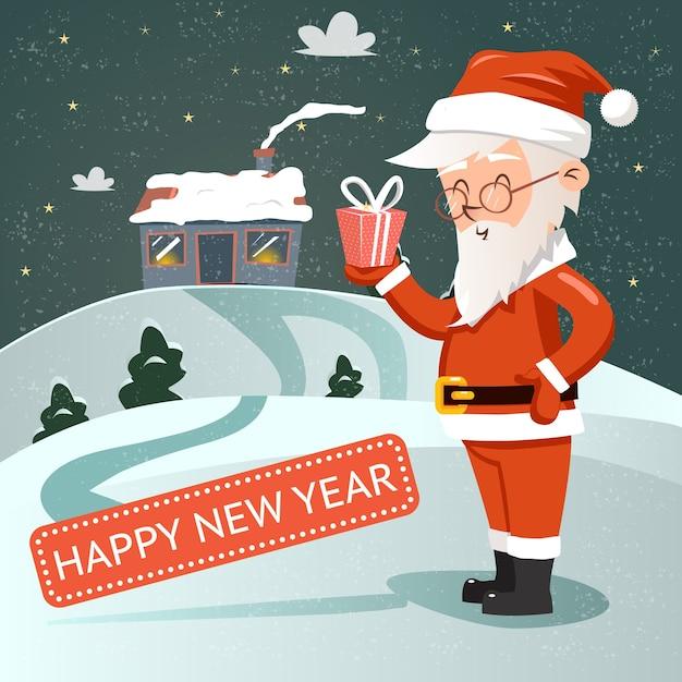 Santa claus con caja de regalo en la mano en estilo retro con el telón de fondo de la casa cubierta de nieve vector gratuito