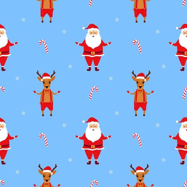 Santa claus y los ciervos. navidad, seamless, patrón Vector Premium