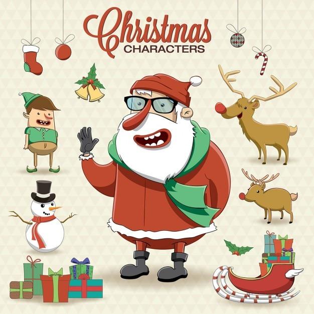 Santa claus con elementos navideños vector gratuito