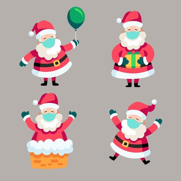 Santa claus con mascarilla vector gratuito
