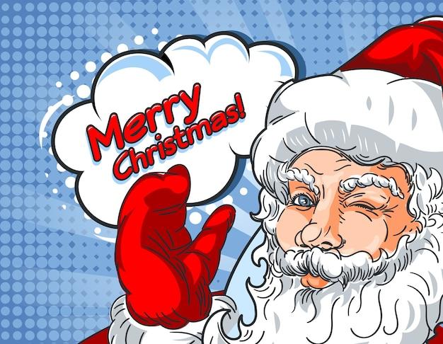 Santa claus parpadeando con la mano hacia arriba y la inscripción mery christmas en estilo cómic. Vector Premium