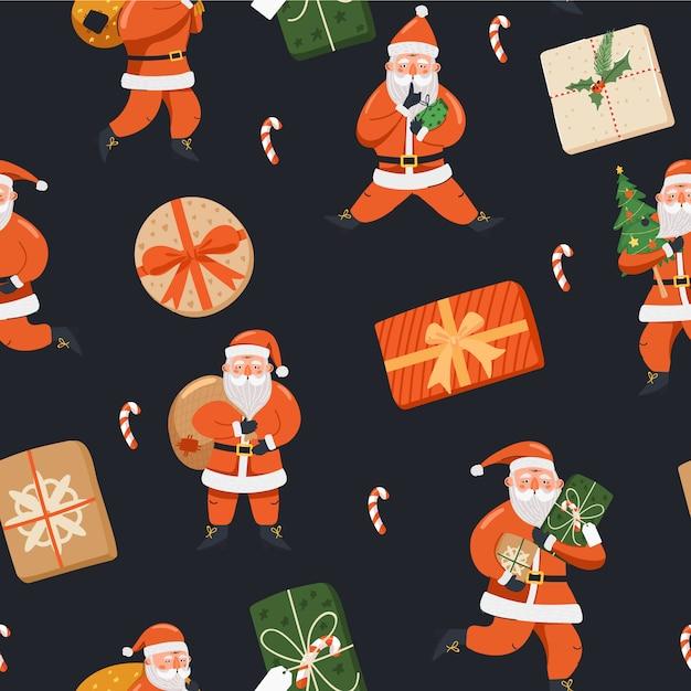 Santa claus con plantilla de patrón dibujado a mano regalos Vector Premium