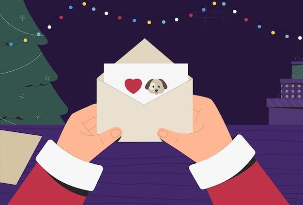 Santa claus en traje tradicional sosteniendo y leyendo la carta de navidad, junto a las cajas con regalos y árbol. Vector Premium