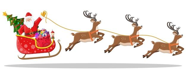 Santa claus en trineo lleno de regalos, árbol de navidad y sus renos. feliz año nuevo decoración. feliz navidad. celebración de año nuevo y navidad. en Vector Premium