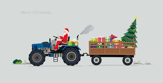 Santa conduciendo un tractor con cajas de regalo y árboles de navidad Vector Premium