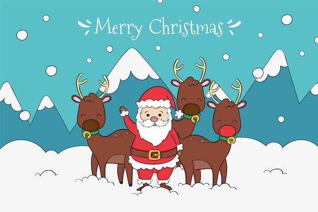 Santa dibujado con su fondo de renos vector gratuito