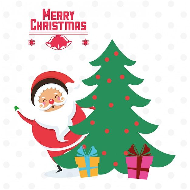 Santa Dibujos Animados Y Pino árbol De Navidad Diseño Descargar
